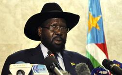 South Sudan's President Salva Kiir addresses the nation at the South Sudan National Parliament in Juba, November 18, 2015. REUTERS/Jok Solomun