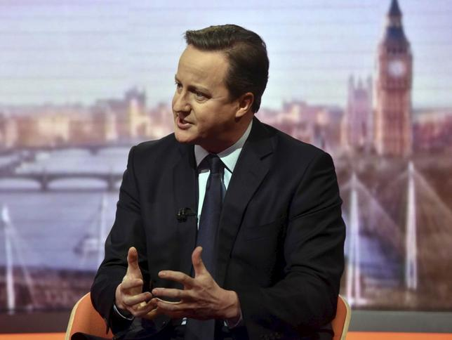 Britain's Prime Minister David Cameron is seen speaking on the BBC's Andrew Marr Show in this photograph received via the BBC in London, Britain January 10, 2016. If Britons vote to leave the European Union at a membership referendum due by the end of 2017, the government will have to make it work, Cameron said on Sunday.  REUTERS/Jeff Overs/BBC/Handout via Reuters ATTENTION EDITORS - THIS IMAGE HAS BEEN SUPPLIED BY A THIRD PARTY. IT IS DISTRIBUTED, EXACTLY AS RECEIVED BY REUTERS, AS A SERVICE TO CLIENTS. NO COMMERCIAL OR BOOK SALES. NO RESALES. NO ARCHIVES. FOR EDITORIAL USE ONLY. NOT FOR SALE FOR MARKETING OR ADVERTISING CAMPAIGNS