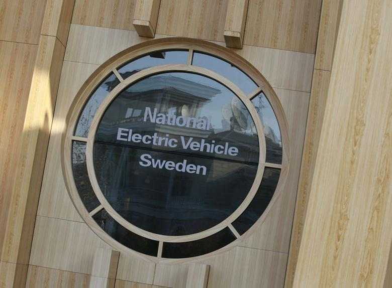 The National Electric Vehicle Sweden (NEVS) logo is pictured at its Beijing headquarters building December 28, 2015.    REUTERS/Kim Kyung-Hoon