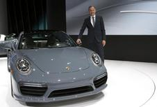 Dr. Oliver Blume, Chairman of the Executive Board for Porsche AG, introduces the 2017 Porsche 911 Turbo at the North American International Auto Show in Detroit, Michigan January 11, 2016.  REUTERS/Rebecca Cook