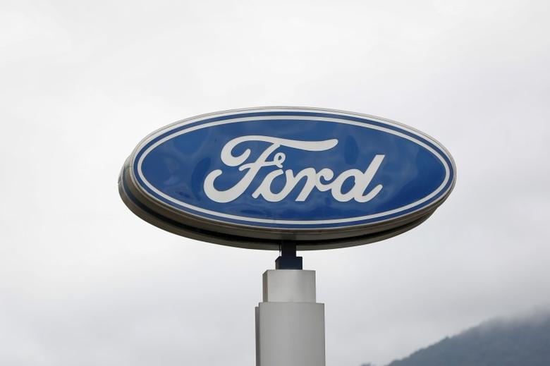 The corporate logo of Ford is seen at a Ford branch in Caracas March 27, 2015.  REUTERS/Carlos Garcia Rawlins