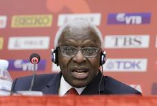 President of International Association of Athletics Federations (IAAF) Lamine Diack answers a question at a news conference in Beijing, China in this August 20, 2015 file picture.   REUTERS/Jason Lee/files