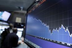 Экран с графиком на фондовой бирже в Нью-Йорке. 14 января 2016 года. Рост акций энергетического сектора способствовал стабилизации фондового рынка США в четверг, в то время как бумаги финансовых компаний укрепились на фоне оптимистичных результатов банка JPMorgan Chase & Co. REUTERS/Brendan McDermid