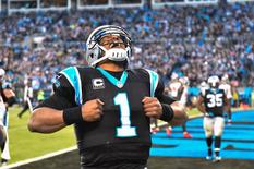 Carolina Panthers quarterback Cam Newton (1) reacts after scoring a touchdown in the second quarter at Bank of America Stadium. Bob Donnan-USA TODAY Sports