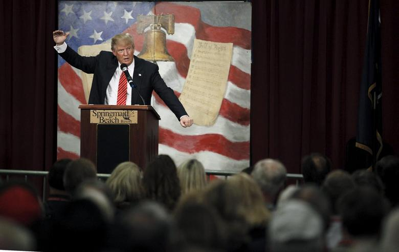 U.S. Republican presidential candidate Donald Trump speaks at the South Carolina Tea Party Coalition Convention in Myrtle Beach, South Carolina, January 16, 2016. REUTERS/Randall Hill . SAP is the sponsor of this coverage which is independently produced by the staff of Reuters News Agency.