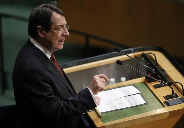 President Nicos Anastasiades of Cyprus addresses attendees during the 70th session of the United Nations General Assembly at the U.N. Headquarters in New York, September 29, 2015.   REUTERS/Carlo Allegri