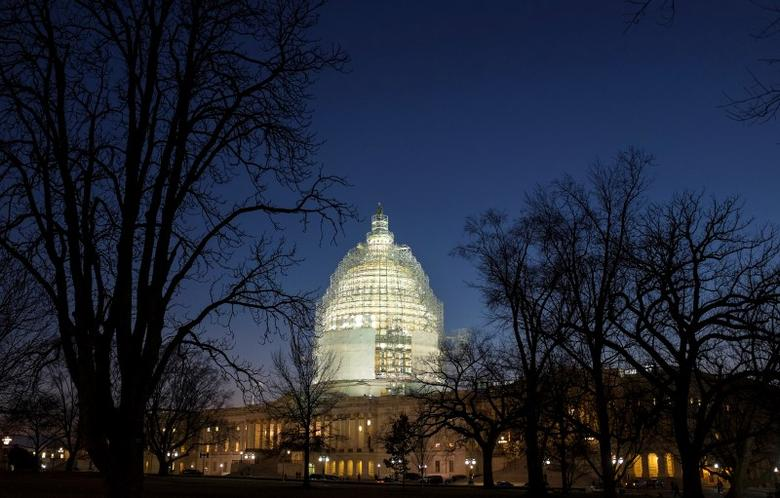 The U.S. Capitol is lit in Washington February 11, 2015. REUTERS/Joshua Roberts