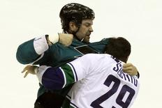 File image of John Scott (20) fighting with Vancouver Canucks Tom Sestito (29) in a first period fight during their  NHL Preseason game at the Stockton Arena. Mandatory Credit: Lance Iversen-USA TODAY Sports