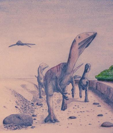 A watercolor illustration depicts the newly discovered dinosaur species Dracoraptor hanigani whose fossils were unearthed in Wales, in this handout image provided by Steven Vidovic January 20, 2016.  REUTERS/Steven Vidovic/Handout via Reuters