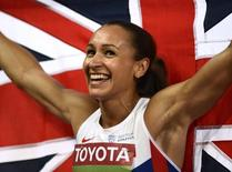 Jessica Ennis-Hill of Britain celebrates winning the women's heptathlon during the 15th IAAF World Championships at the National Stadium in Beijing, China August 23, 2015. REUTERS/Dylan Martinez