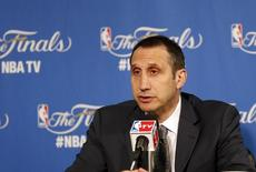 June 14, 2015; Oakland, CA, USA; Cleveland Cavaliers head coach David Blatt speaks to media following the 104-91 loss against the Golden State Warriors in game five of the NBA Finals. at Oracle Arena. Mandatory Credit: Kelley L Cox-USA TODAY Sports -