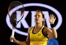 Czech Republic's Barbora Strycova celebrates after winning her third round match against Spain's Garbine Muguruza at the Australian Open tennis tournament at Melbourne Park, Australia, January 23, 2016. REUTERS/Jason Reed