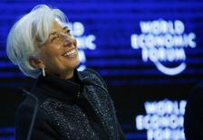 """Christine Lagarde, Managing Director of the International Monetary Fund (IMF) attends the session """"The Global Economic Outlook"""" during the annual meeting of the World Economic Forum (WEF) in Davos, Switzerland January 23, 2016.  REUTERS/Ruben Sprich"""