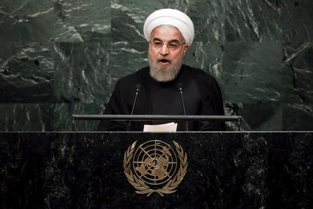 1月25日、イランのロウハニ大統領は今週、イタリアとバチカン、フランスを訪問する。写真はロウハニ大統領。ニューヨークの国連本部で昨年9月撮影(2016年 ロイター/Carlo Allegri)
