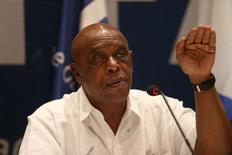 Tokyo Sexwale, chairman of the FIFA Monitoring Committee Israel-Palestine, gestures during a news conference with Israel Football Association president Ofer Eini (not seen) and Jibril Al Rajoub (not seen), President of the Palestinian Football Association, in the West Bank city of Jericho December 16, 2015. REUTERS/Mohamad Torokman