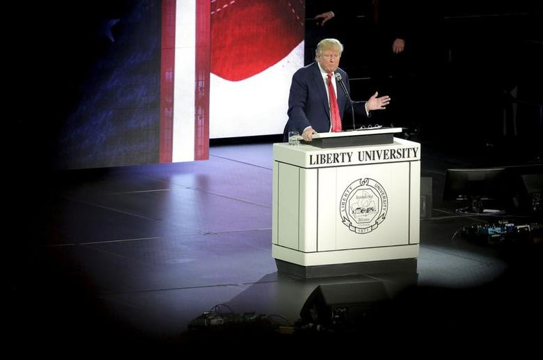 U.S. Republican presidential candidate Donald Trump speaks at Liberty University in Lynchburg, Virginia, January 18, 2016.   REUTERS/Joshua Roberts . SAP is the sponsor of this coverage which is independently produced by the staff of Reuters News Agency.