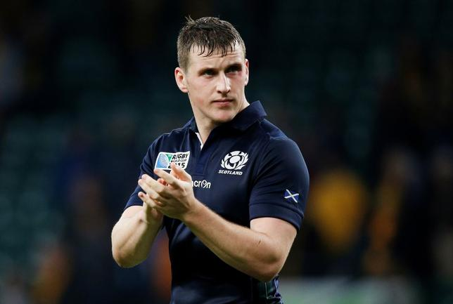 Rugby Union - Australia v Scotland - IRB Rugby World Cup 2015 Quarter Final - Twickenham Stadium, London, England - 18/10/15Scotland's Mark Bennett is dejected after the gameAction Images via Reuters / Andrew CouldridgeLivepic - RTS4ZQE