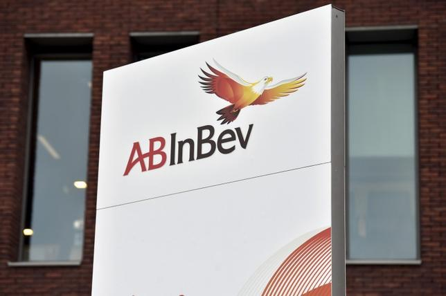 The logo of Anheuser-Busch InBev is pictured outside the brewer's headquarters in Leuven, November 10, 2015. Anheuser-Busch InBev, the world's biggest brewer, launched its $100 billion-plus offer for nearest rival SABMiller on Wednesday and agreed to sell the latter's stake in U.S. venture MillerCoors in a bid to win regulatory approval. Picture taken November 10, 2015 REUTERS/Eric Vidal TPX IMAGES OF THE DAY      - RTS6HXF