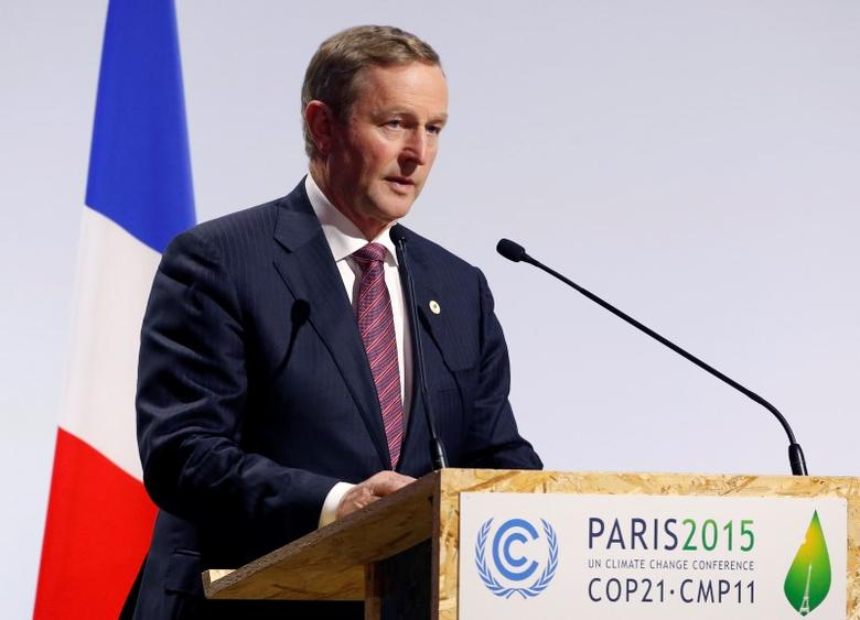 Ireland's Prime Minister Enda Kenny delivers a speech for the opening day of the World Climate Change Conference 2015 (COP21) at Le Bourget, near Paris, France, November 30, 2015.  REUTERS/Stephane Mahe  - RTX1WK3A