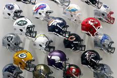 NFL team helmets are displayed at the NFL Headquarters in New York December 3, 2015. REUTERS/Brendan McDermid