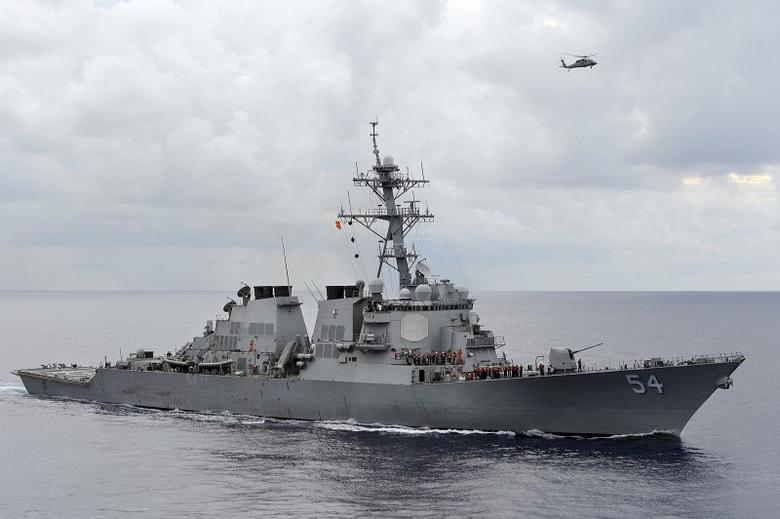 The U.S. Navy guided-missile destroyer USS Curtis Wilbur patrols in the Philippine Sea in this August 15, 2013 file photo.  REUTERS/U.S. Navy/Mass Communication Specialist 3rd Class Declan Barnes/Handout via Reuters/Files