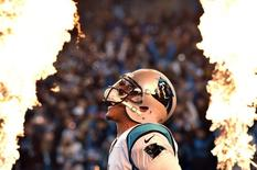 Jan 24, 2016; Charlotte, NC, USA; Carolina Panthers quarterback Cam Newton (1) is introduced before the game against the Arizona Cardinals in the NFC Championship football game at Bank of America Stadium. Mandatory Credit: Bob Donnan-USA TODAY Sports