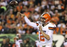 Nov 5, 2015; Cincinnati, OH, USA; Cleveland Browns quarterback Johnny Manziel (2) throws a pass against the Cincinnati Bengals at Paul Brown Stadium. Mandatory Credit: Aaron Doster-USA TODAY Sports