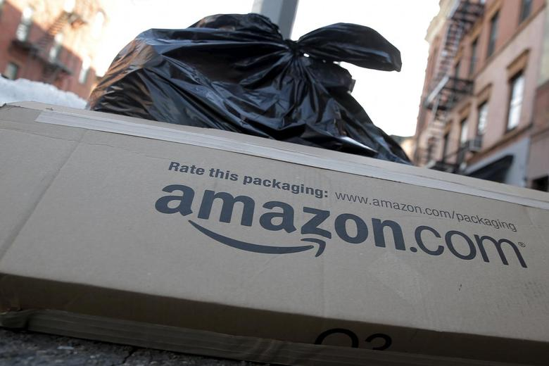 An Amazon box sits out with trash in the Brooklyn borough of New York January 29, 2016. REUTERS/Brendan McDermid