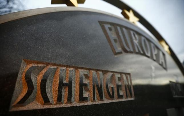A plate with the name Schengen and Europe is pictured in the village of Schengen, Luxembourg January 27, 2016.  REUTERS/Wolfgang Rattay