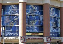 St Louis Rams imagery is seen on windows at the Edward Jones Dome in St Louis, Missouri in a January 13, 2016 file photo.  REUTERS/Tom Gannam/Files
