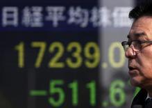 Un peatón camina junto a un tablero electrónico que muestra el índice Nikkei de Japón, afuera de una correduría en Tokio, Japón. 3 de febrero de 2016. Las acciones japonesas cayeron el miércoles luego de que los precios del crudo extendieron su reciente declive y después de que un yen más fuerte redujo la confianza de los inversores. REUTERS/Yuya Shino