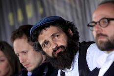 """Ator do filme """"O Filho de Saul"""" Rohrig durante entrevista em Budapeste. 28/5/2015.  REUTERS/Bernadett Szabo"""
