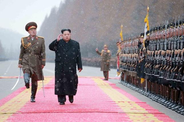 North Korean leader Kim Jong Un salutes during a visit to the Ministry of the People's Armed Forces on the occasion of the new year, in this undated file photo released by North Korea's Korean Central News Agency (KCNA) on January 10, 2016.  REUTERS/KCNA/Files