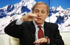 Ray Dalio, Chairman and Chief Investment Officer of Bridgewater Associates gestures at the Ending the Experiment event in the Swiss mountain resort of Davos in this January 22, 2015 file photo. REUTERS/Ruben Sprich