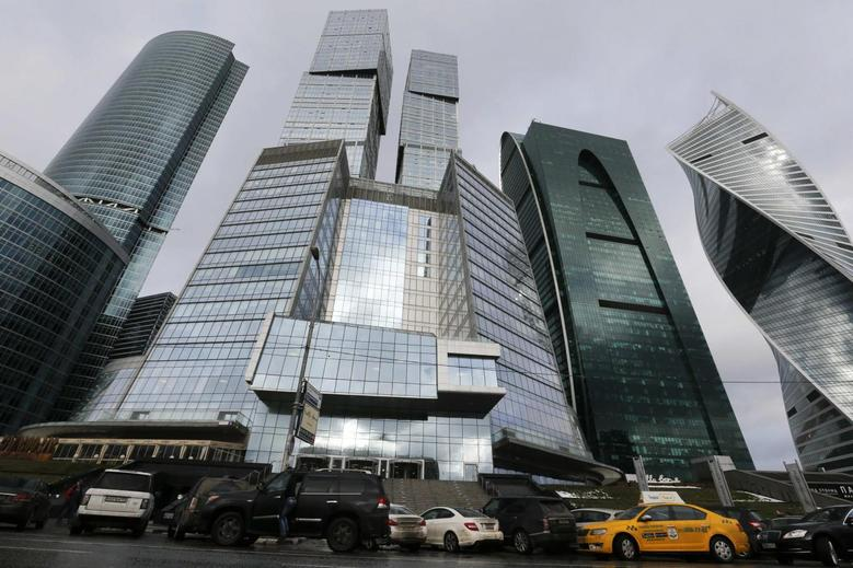 A general view shows the building 'Gorod Stolits' (Capital City) (C), which houses an office of 25 Floor Film Company, at the Moscow International Business Center also known as ''Moskva-City'', in Moscow, Russia, February 3, 2016.  REUTERS/Maxim Zmeyev