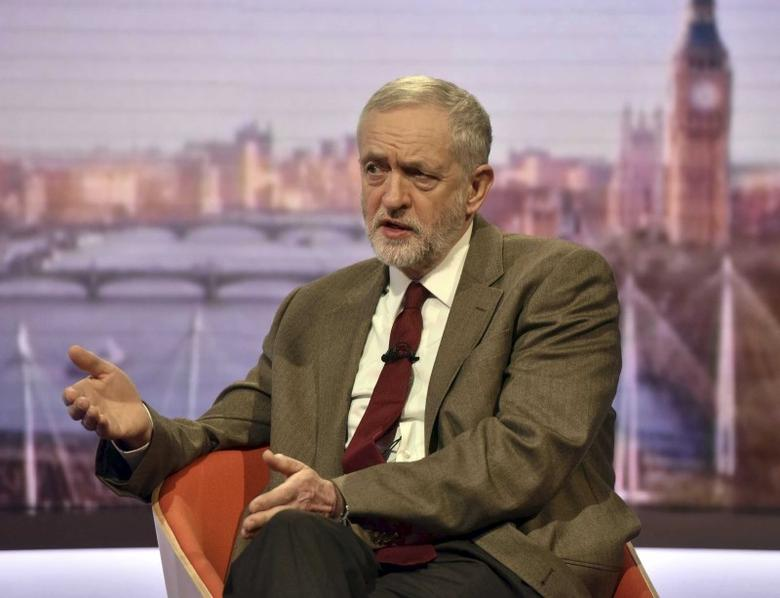 Britain's opposition Labour Party leader Jeremy Corbyn speaks on the BBC's Andrew Marr Show in London, January 17, 2016.   REUTERS/Jeff Overs/BBC/Handout via Reuters .