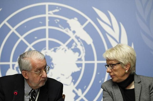 United Nations Independent Commission of Inquiry on Syrian Arabic Republic Chairman Paulo Pinheiro (L) and co-commissioner Carla del Ponte hold a news conference at the United Nations European headquarters in Geneva, Switzerland, February 8, 2016.  REUTERS/Pierre Albouy