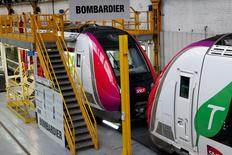 New regional transport trains are seen at the Bombardier plant in Crespin, near Valenciennes, northern France, January 13, 2016. REUTERS/Benoit Tessier