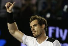 Britain's Andy Murray celebrates after winning his quarter-final match against Spain's David Ferrer at the Australian Open tennis tournament at Melbourne Park, Australia, January 27, 2016. REUTERS/Tyrone Siu