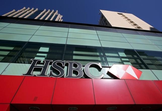 The HSBC lokgo is seen above a branch of the bank in the Sao Paulo financial centre, Brazil, August 3, 2015.  REUTERS/Paulo Whitaker