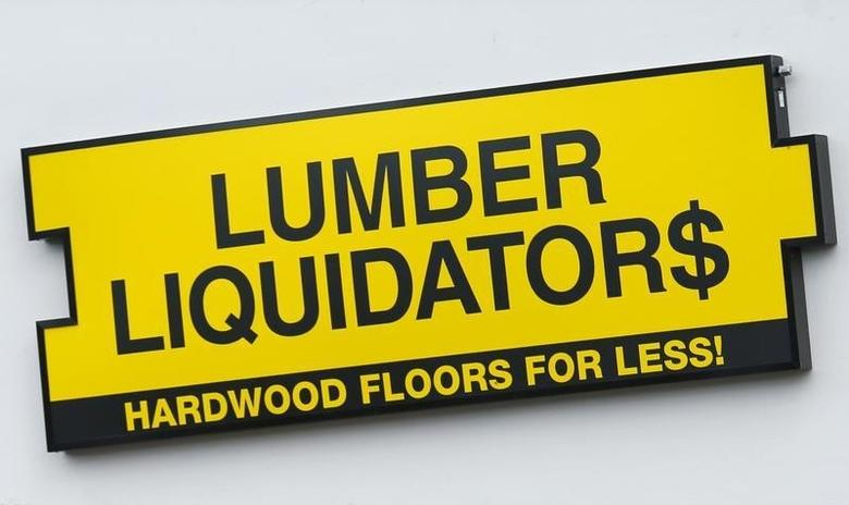 A Lumber Liquidators store sign is shown outside one of the companies  retail locations in San Diego, California March 2, 2015.   REUTERS/Mike Blake