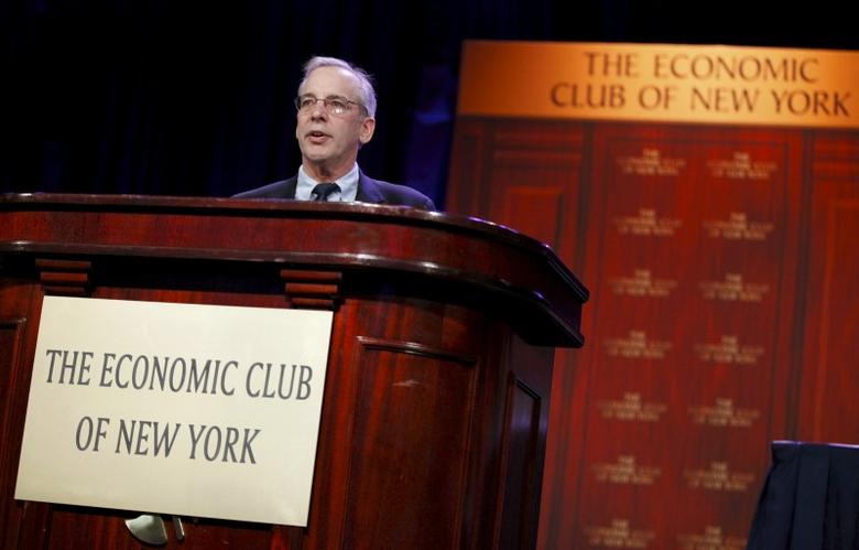 William Dudley, President and CEO of the Federal Reserve Bank of New York, addresses the Economic Club of New York at a luncheon in the Manhattan borough of New York City, in this November 12, 2015, file photo. REUTERS/Mike Segar