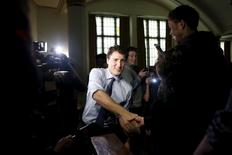 Canada's Prime Minister Justin Trudeau greets students following a student assembly with United Nations Secretary-General Ban Ki-moon (not pictured) at Glebe Collegiate Institute in Ottawa, Canada, February 11, 2016. REUTERS/Chris Wattie