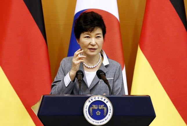 South Korean President Park Geun-Hye speaks during a joint news conference with German President Joachim Gauck (unseen) after their meeting at the presidential house in Seoul, South Korea October 12, 2015. REUTERS/Jeon Heon-Kyun/Pool