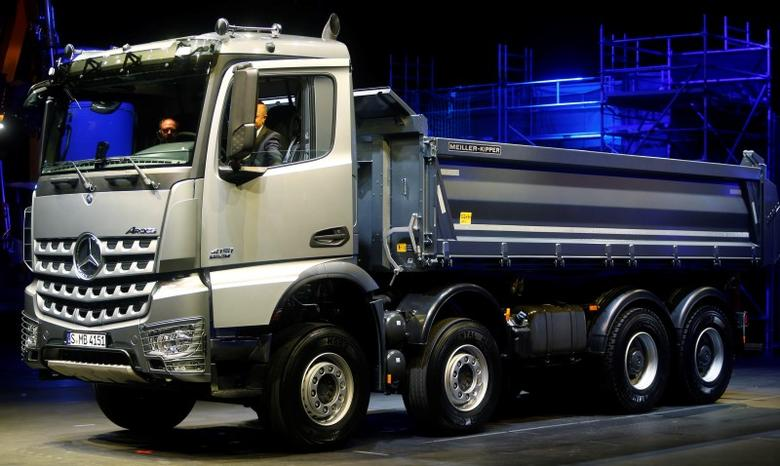 Daimler's Mercedes-Benz heavy-duty truck ''Arocs'' is pictured during its world premiere in Munich January 28, 2013. REUTERS/Michael Dalder