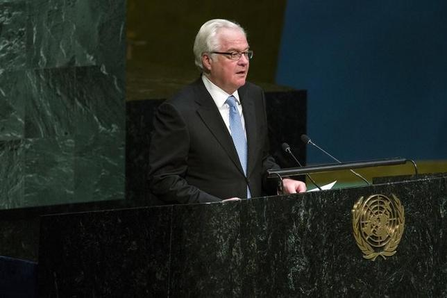 Russian Ambassador to the United Nations Vitaly Churkin speaks before a United Nations General Assembly vote addressing the economic, commercial and financial embargo imposed by the U.S. against Cuba at the United Nations headquarters in New York, October 27, 2015. REUTERS/Lucas Jackson