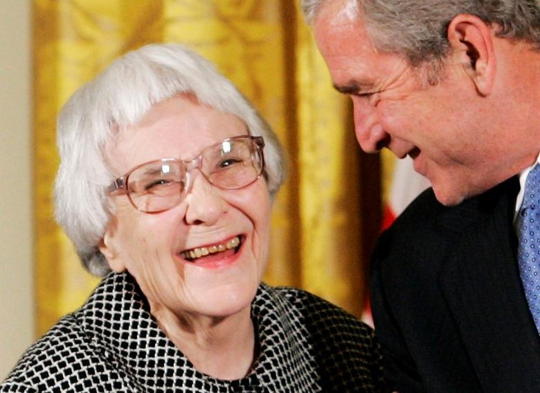 U.S. President George W. Bush (R) before awarding the Presidential Medal of Freedom to American novelist Harper Lee (L) in the East Room of the White House, in this November 5, 2007, file photo.  REUTERS/Larry Downing