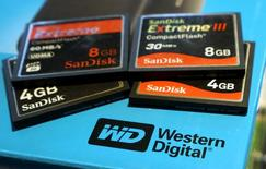 A variety of SanDisk memory cards are seen with a Western Digital hard drive box in Golden, Colorado in this photo illustration October 21, 2015. REUTERS/Rick Wilking