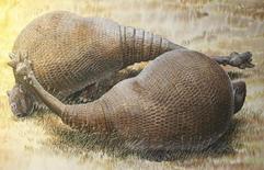 Imagen cedida a Reuters de una ilustración de un animal similar a un armadillo llamado Doedicurus, feb 22, 2016. ADN extraído de un fósil de 12.000 años de edad encontrado en Argentina está proporcionando una visión única de uno de los gigantes más extraños de la Edad de Hielo: un mamífero del tamaño de un coche pequeño con un caparazón óseo bulboso y una cola puntiaguda en forma de mazo.   REUTERS/Peter Schouten/Handout via Reuters    Imagen de uso no comercial, ni de ventas, ni de archivo. Solo para uso editorial. No está disponible para su venta en marketing o en campañas publicitarias. Esta fotografía fue entregada por un tercero y es distribuida, exactamente como fue recibida por Reuters, como un servicio para sus clientes.