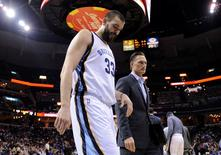 Feb 8, 2016; Memphis, TN, USA; Memphis Grizzlies center Marc Gasol (33) walks off the court after the first half against the Portland Trail Blazers at FedExForum. Mandatory Credit: Justin Ford-USA TODAY Sports